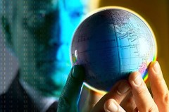 A businessman holding a small globe uid 1460685